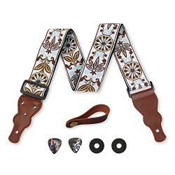 Guitar Strap Vintage Woven W/FREE BONUS- 2 Picks + Strap Locks + Strap Button. For Bass, Electri ...