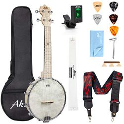 AKLOT Banjo Ukulele Concert 23 inch Remo Drumhead Open Back Maple Body 15:1 Advanced Tuner with  ...