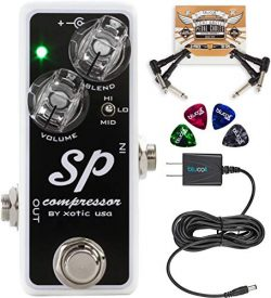 Xotic SP Compressor Guitar Effects Pedal Bundle with Blucoil Slim 9V 670ma Power Supply AC Adapt ...