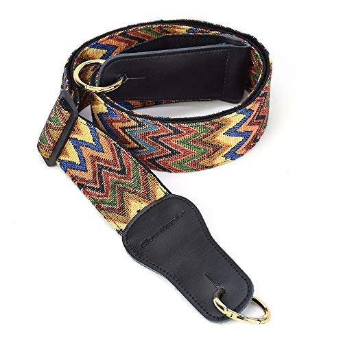 CLOUDMUSIC Banjo Strap Jacquard Woven With Leather Ends And Goden Ring(Coloful Waves)