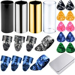 Augshy 4 Pieces Medium Guitar Slides(Include 3 Colors Stainless Steel, 1 Pieces Glass), 10 Piece ...