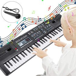RenFox Electronic Keyboard Piano 61-Key Portable Keyboard Piano with Microphone&USB Cable To ...