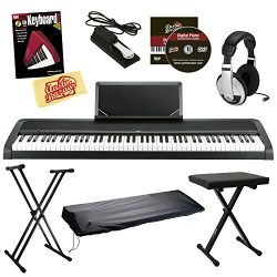 Korg B1 Digital Piano – Black Bundle with Adjustable Stand, Bench, Dust Cover, Sustain Ped ...