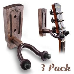 Guitar Wall Mount, Black Walnut Guitar Wall Hanger, Guitar Hook Stand Accessories for Acoustic E ...