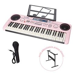 COLOR TREE 61 Key Music Electronic Keyboard Electric Digital Piano Organ with Piano Stand Option ...