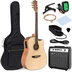 Best Choice Products 41in Full Size Acoustic Electric Cutaway Guitar Set with 10-Watt Amplifier, ...