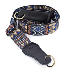 CLOUDMUSIC Banjo Strap Jacquard Woven With Leather Ends And Goden Rings(Geometrical Pattern in Blue)