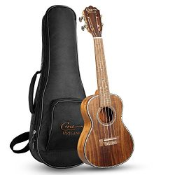 Hricane Concert Ukulele 23 Inch Koa Professional Hawaiian Ukuleles for Beginners with Gig Bag St ...