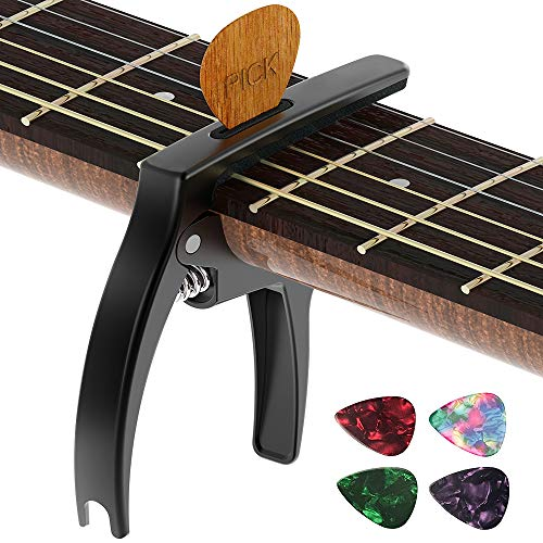 Guitar Capo,TANMUS 3in1 Zinc Metal Capo for Acoustic and Electric Guitars (with Pick Holder and  ...