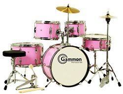 Gammon 5-Piece Junior Starter Drum Kit with Cymbals, Hardware, Sticks, & Throne – Pink