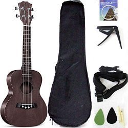Tenor Ukelele Ukulele Solid Top Mahogany 26 Inch With Ukulele Accessories With Gig Bag,Strap,Nyl ...