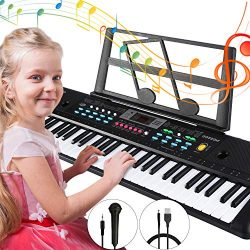 Electronic Keyboard Piano 61 Key,Tencoz Portable Piano Keyboard with Music Stand, Microphone, Po ...