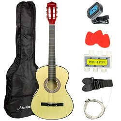 Martin Smith 38 Inch Acoustic Guitar, Natural, With Case, Pick, Tuner, Strap, Extra Strings and  ...
