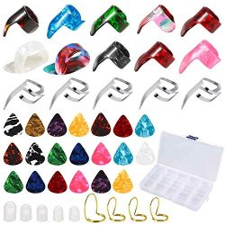 Auihiay 60 Pieces Guitar Accessories Kit Include 36 Pcs Guitar Picks(0.46/0.66mm), 19 Pcs Thumb  ...