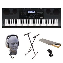 Casio WK-6600 PPK 76-Key Premium Keyboard Pack with Stand, Power Adapter, Dust Cover, and Samson ...