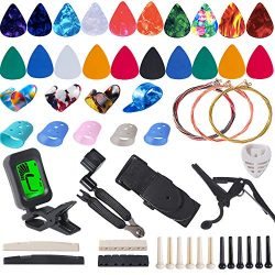 Guitar Accessories Kit Include Guitar Strings, Guitar Picks,Guitar Bridge Nut & Saddle,Brid ...