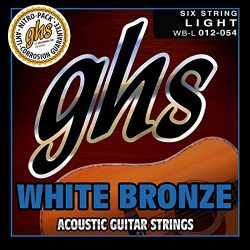 GHS Strings WB-L White Bronze Acoustic Guitar Strings, Light (.012-.054)