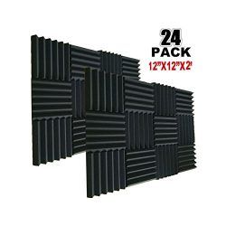 24 Pack Acoustic Foam Panels 2″ X 12″ X 12″ Soundproofing Studio Foam Wedge Ti ...