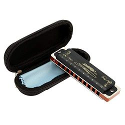 East top Harmonica Key of A 10 Hole 20 Tone Diatonic Blues Harmonica Mouth Organ with Case Top G ...