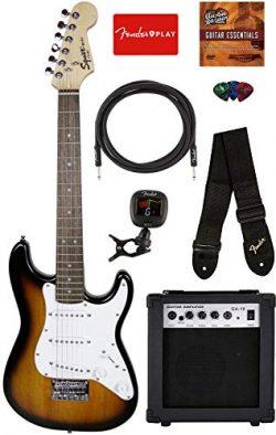 Squier by Fender Mini Strat Electric Guitar – Brown Sunburst Bundle with Amplifier, Instru ...