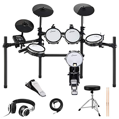 Donner DED-200 Electronic Kit with Mesh Head 8 Piece, Drum Throne, Sticks Headphone and Audio Ca ...