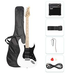 GLARRY 39″ Full Size Electric Guitar for Music Lover Beginner with 20W Amp and Accessories ...