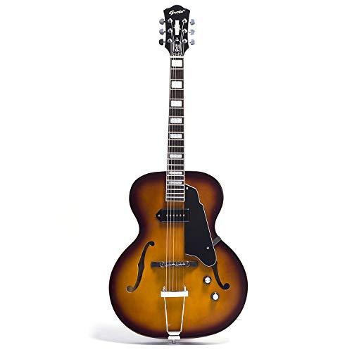 NEW GROTE Jazz Electric Guitar Semi-Hollow Body Chrome Hardware (Vintage Sunburst)