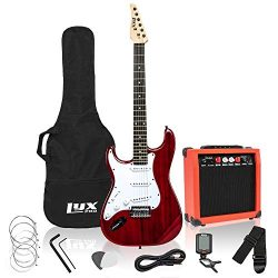 LyxPro Left Hand 39 Inch Electric Guitar and Starter Kit Bundle for Lefty Full Size BeginnerR ...