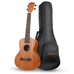 Afuaim Concert Ukulele 23 Inch Mahogany Uke with Gig Bag for Beginners
