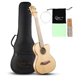 Hricane Tenor Ukulele 27 Inch Cutaway Slim Extra Slim Light Spalted Maple Ukulele for Beginner w ...