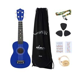 ADM Soprano Ukulele 21 Inch for Kids Beginner Ukelele, Starter Kit Strap, Aquila Strings, Picks, ...