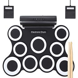 Electronic Drum Set, Christmas Gifts for Kids 9 Pads Roll Up Drum Kit Practice Pad Midi Drum Kit ...