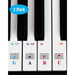 Piano and Keyboard Music Note Stickers for White Keys with Songs Ebook