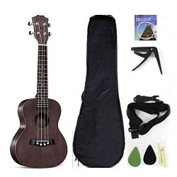 Concert Ukulele Solid Top Mahogany 23 Inch With Ukulele Accessories With Gig Bag,Strap,Nylon Str ...