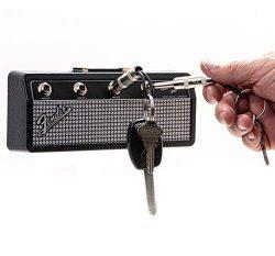 Licensed Fender Jack Rack- Wall mounting guitar amp key holder, includes 4 guitar plug keychains ...