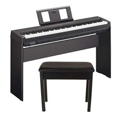 Yamaha P45 88-Key Weighted Action Digital Piano Black with Matching Wooden Stand and Padded Wood ...