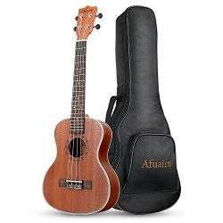 Afuaim Concert Ukulele 21 inch Sapele Hawaiian Ukele with Ukulele Case and Ukele String Set