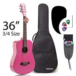 Acoustic Guitar Bundle Junior (Travel) Series by Hola! Music with D'Addario EXP16 Steel St ...