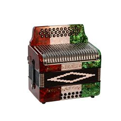 Baronelli 31 Button 12 Bass Accordion GCF Stainless Steel Grill, Red/White/Green