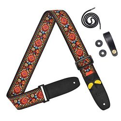 Amumu Vintage Red Flower Embroidery Guitar Strap with 3 pick holders for Acoustic, Electric and  ...