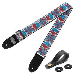 Dulphee Unique Guitar Strap Eight Diagram Pattern Jacquard Weave Braided Shoulder Strap with Sue ...