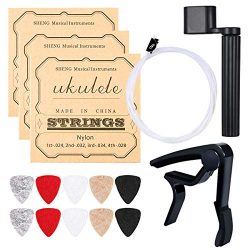 Ukulele Strings, Yoklili 5 Sets of Nylon Ukulele Strings with 10 Felt Picks, String Winder for S ...