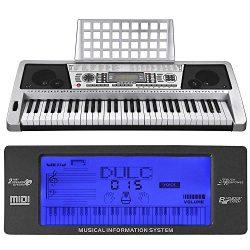 AW 61 Key LCD MIDI Silver Electric Keyboard Music Digital 37x14x5″ Personal Electronic Pia ...