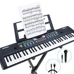 RenFox 61-Key Keyboard Piano with Microphone & Music Stand Portable Electronic Kids Piano Ke ...