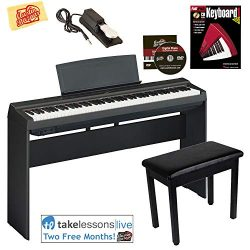 Yamaha P-125 Digital Piano – Black Bundle with Yamaha L-125 Stand, Furniture Bench, Deluxe ...