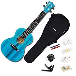 Enya Concert Ukulele 23 Inch Blue Solid Mahogany Top with Ukulele Starter Kit Includes Online Le ...