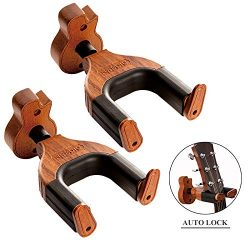 Neboic Guitar Wall Mount, Auto Lock Guitar Wall Hanger, Hard Wood Base in Guitar Shape Guitar Ho ...