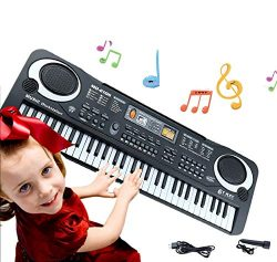 Keyboard Piano Kids 61 Key Electronic Digital Piano Musical Instrument Kit with Microphone Music ...