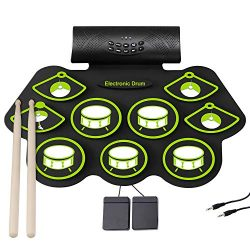 Electronic Drum Set – 9 MIDI Drum Practice Pads, Portable Roll Up Electric Drum kit with H ...