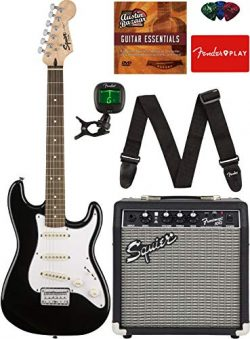Squier by Fender Short Scale (24″) Stratocaster – Black Bundle with Frontman 10G Amp ...